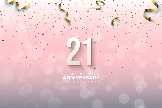 21st anniversary background with numbers and gold ribbon dropping.