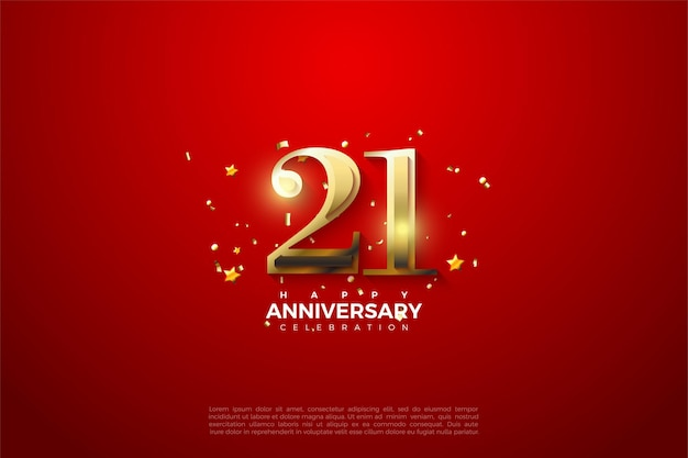 21st anniversary background with shiny gold numbers on red background.