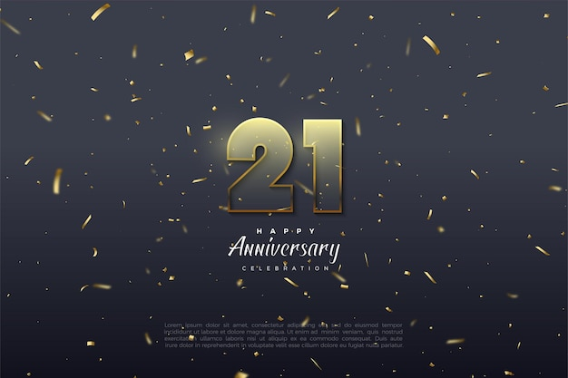 21st anniversary background with transparent numbers illustration with golden brown edging.