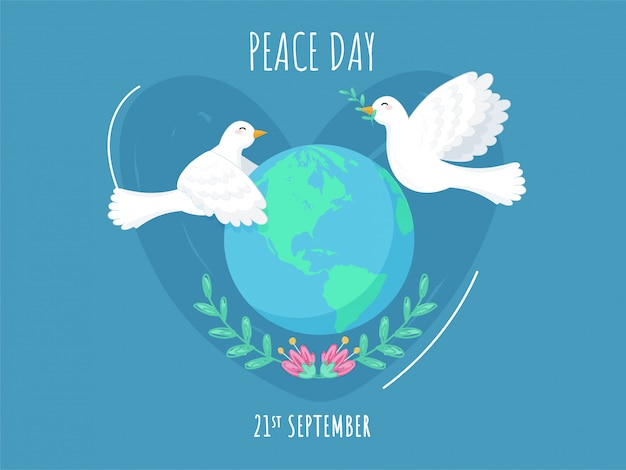 21st september peace day poster  with earth globe, floral and flying doves on blue background.