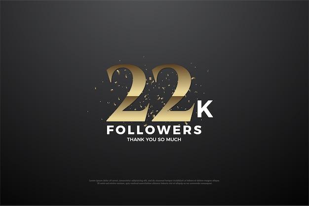 黄金色の数字を持つ22k人のフォロワー