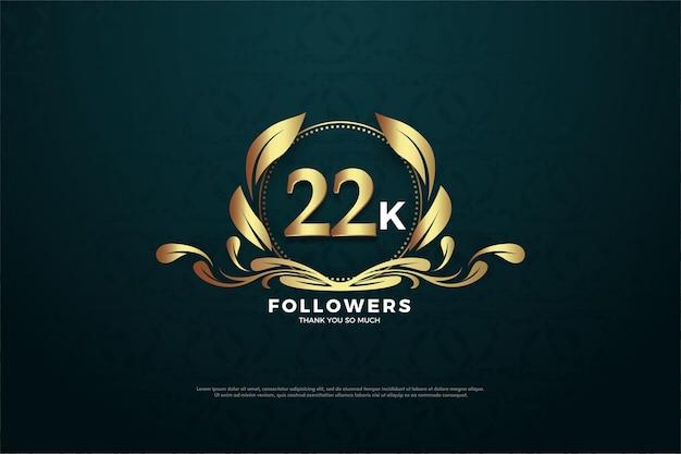魅力的なシンボルの中に数字が入った22k人のフォロワー