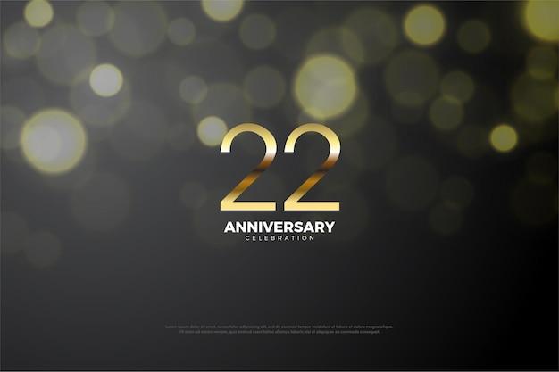光沢のあるゴールドの数字で22周年