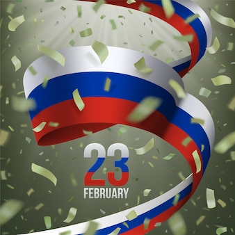 23 february russian defender of the fatherland day. greeting card with khaki flying confetti, tricolor ribbon.