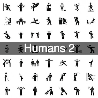 235 humans icons collection Free Vector