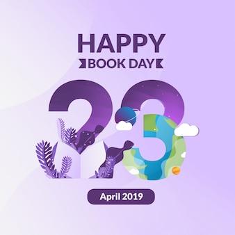 Счастливый книжный день с современной иллюстрацией под номером 23