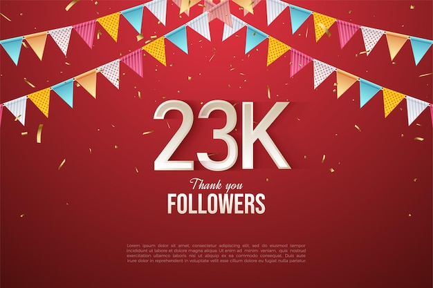 23k followers with colorful flag illustration