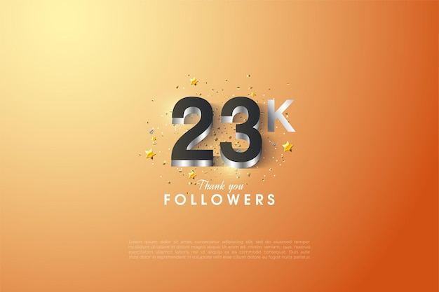 23k followers with embossed 3d numbers