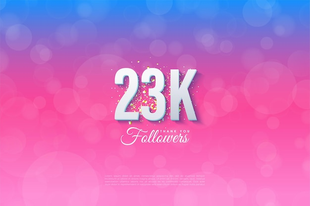 23k followers with simple design illustration