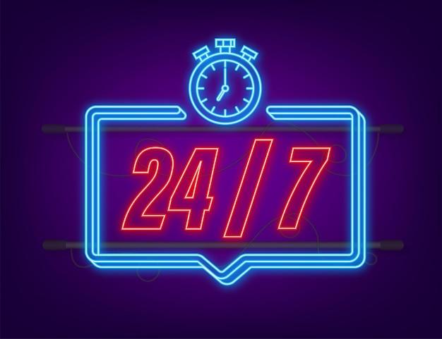 24-7 service concept. 24-7 open. neon icon. support service icon. vector stock illustration.