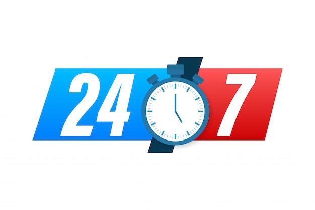 24-7 서비스 개념. 24-7 오픈. 지원 서비스 아이콘. 재고 일러스트입니다.