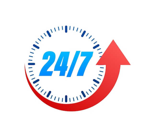 24-7 service concept. 24-7 open. support service icon. vector stock illustration