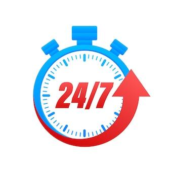 Концепция обслуживания 24-7. круглосуточно. значок службы поддержки. векторная иллюстрация штока.