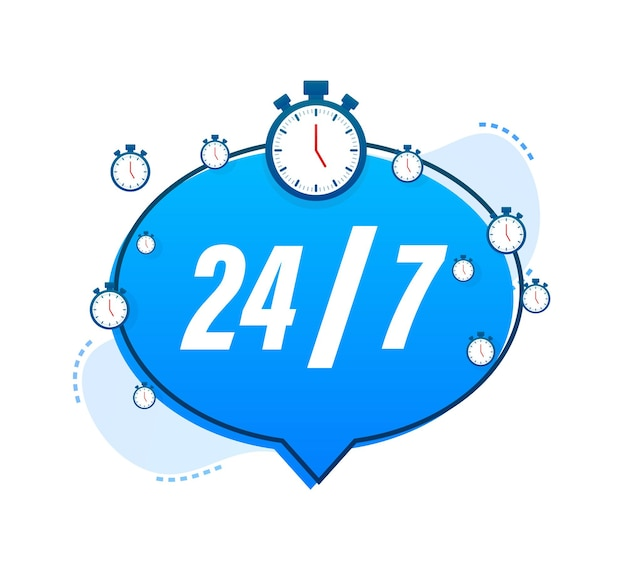 24-7 service concept. 24-7 open. support service icon. vector stock illustration.