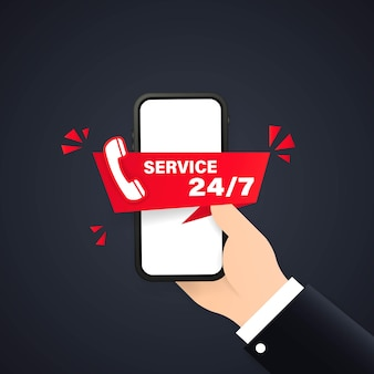 24-7 서비스 개념 또는 콜 센터 그림입니다. 방문 페이지 템플릿 고객 및 운영자, 웹 페이지 온라인 기술 지원 24-7 온라인 도우미, 가상 도움말 서비스 스마트폰.