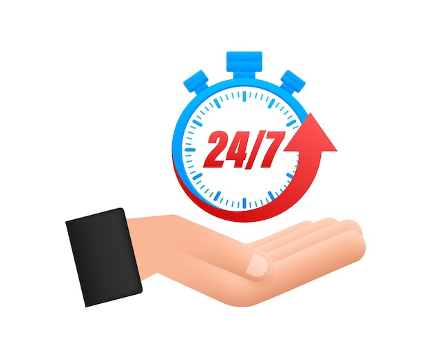 24-7 service concept with hands. 24-7 open. support service icon. vector stock illustration.
