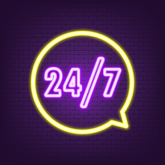 24-7 service icon neon. support sign. vector eps 10.