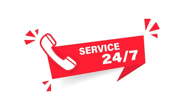 24 7 service red label. web banner. phone icon. vector on isolated white background. eps 10.