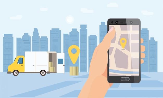 Служба доставки грузов. рука держать смартфон приложение для карты отслеживания посылки. 24 7 фургон