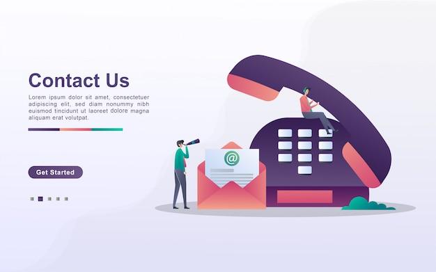 Свяжитесь с нами концепция. обслуживание клиентов 24/7, онлайн поддержка, справочная служба. можно использовать для веб-целевой страницы, баннера, флаера, мобильного приложения.