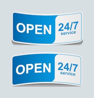 24 часа 7 дней значок обслуживания клиентов.