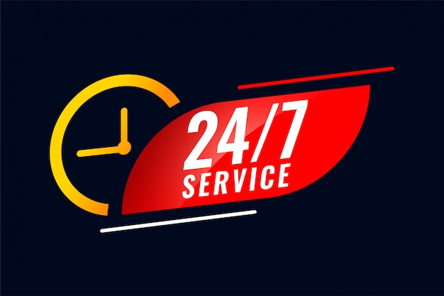 24 hour and 7 days service banner with clock