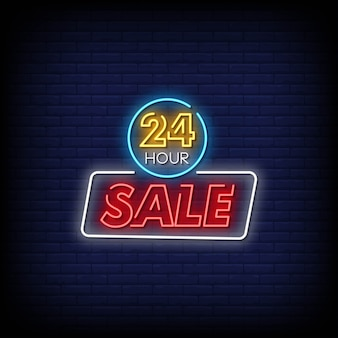 24 hour sale neon signs Premium Vector
