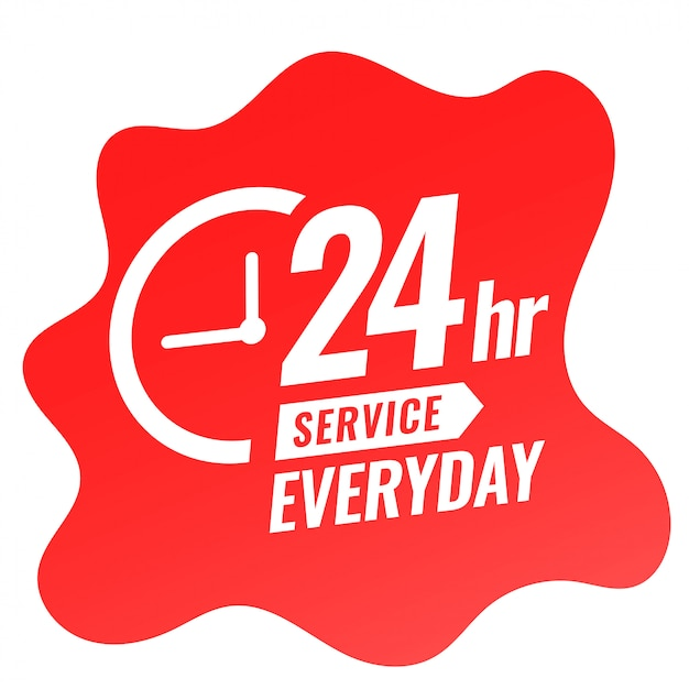 24 hour service everyday banner with clock design