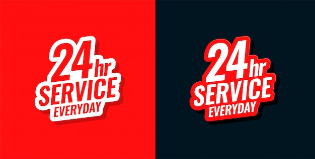 24 hour service everyday concept sticker design