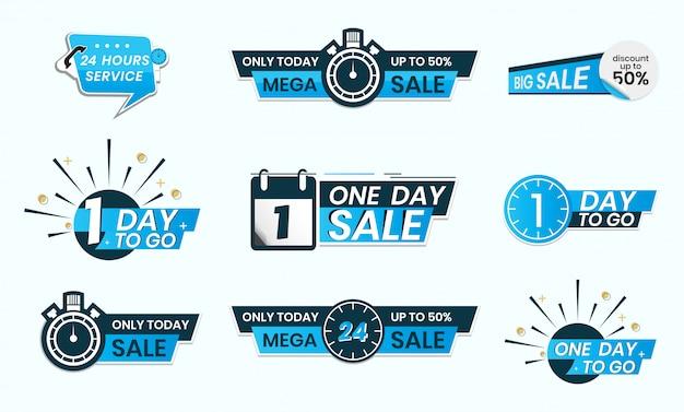 24時間サービスまたは残り1日、または今日のみのステッカー形式の販売 Premiumベクター