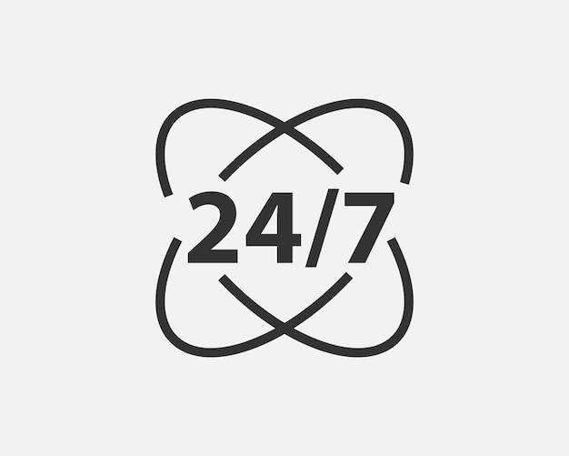 24時間デイサービスアイコンシンボルベクトル。ウェブサイト、ウェブデザイン、モバイルアプリのサインとシンボル