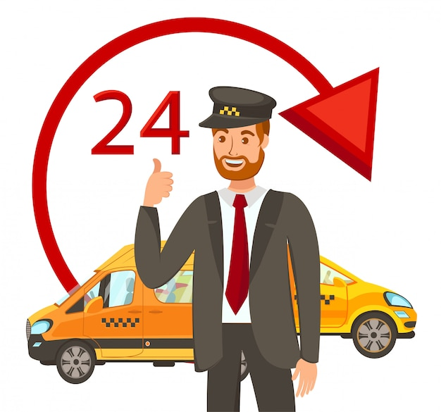 24 hours cab booking flat vector illustration