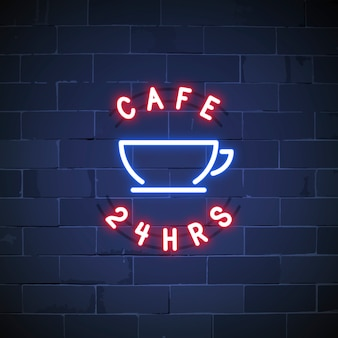 24 hours cafe neon sign vector