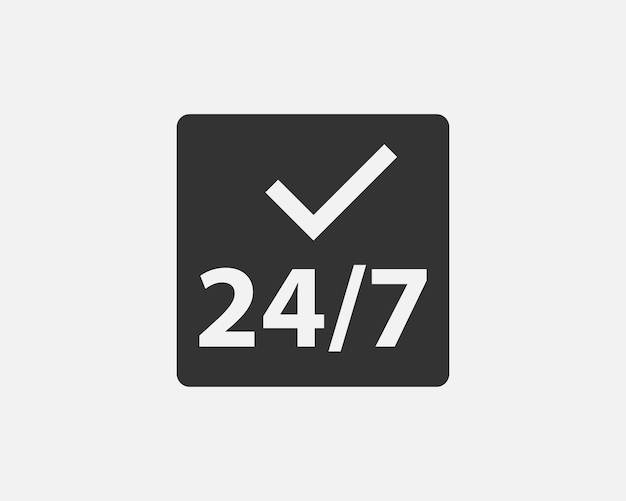 24 hours a day service icon symbol vector. signs and symbol for websites, web design, mobile app