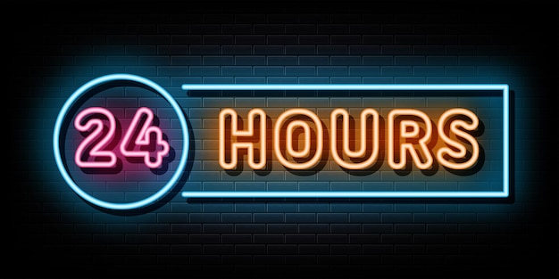 24 hours neon sign symbol