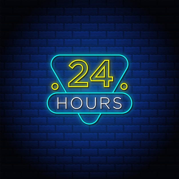 24 часа неоновая вывеска.