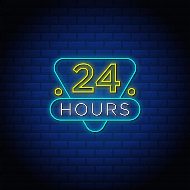 24 hours neon sign.
