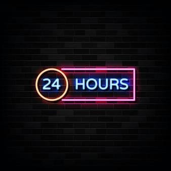 24 часа неоновая вывеска