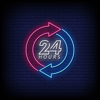 24 hours neon signboard on brick wall