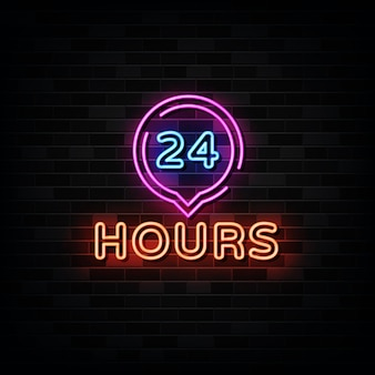 24 hours neon signboard . open all day neon signs neon sign