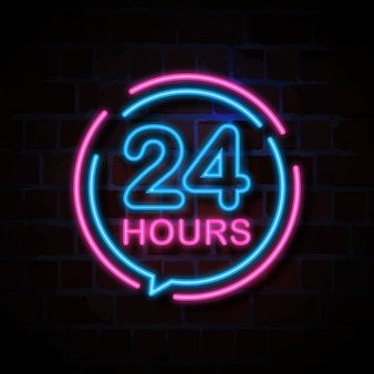 24 hours neon style sign illustration