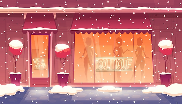 24 hours, round-the-clock boutique with shop-window, clothing market, it snows.