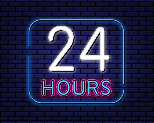 24 hours sign neon style