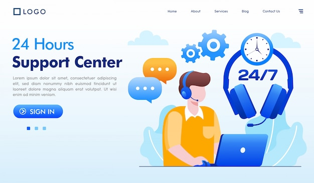 24 hours support center landing page illustration vector