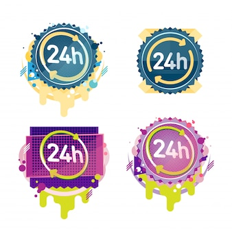 24 hours vector badges collection