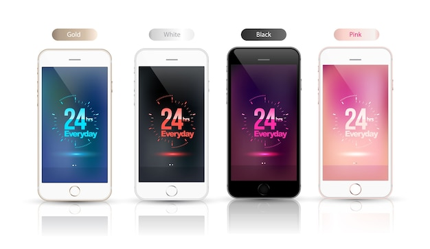24 hrs everyday on screen smartphone mockup set