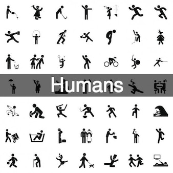 243 humans silhouette icons Free Vector