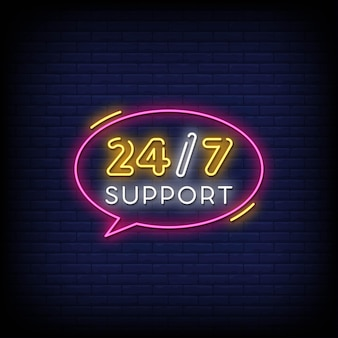 247 support neon signs style text vector