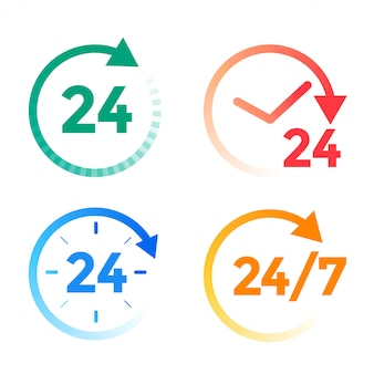 Набор иконок 24 часа в сутки
