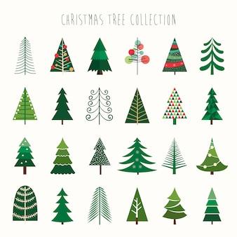白の24の異なる要素を持つクリスマスツリーのコレクション